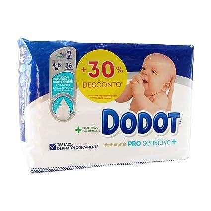 36 x Pañales Dodot Pro Sensitive + Talla 2 Peso 4-8 Kilos Protección ...