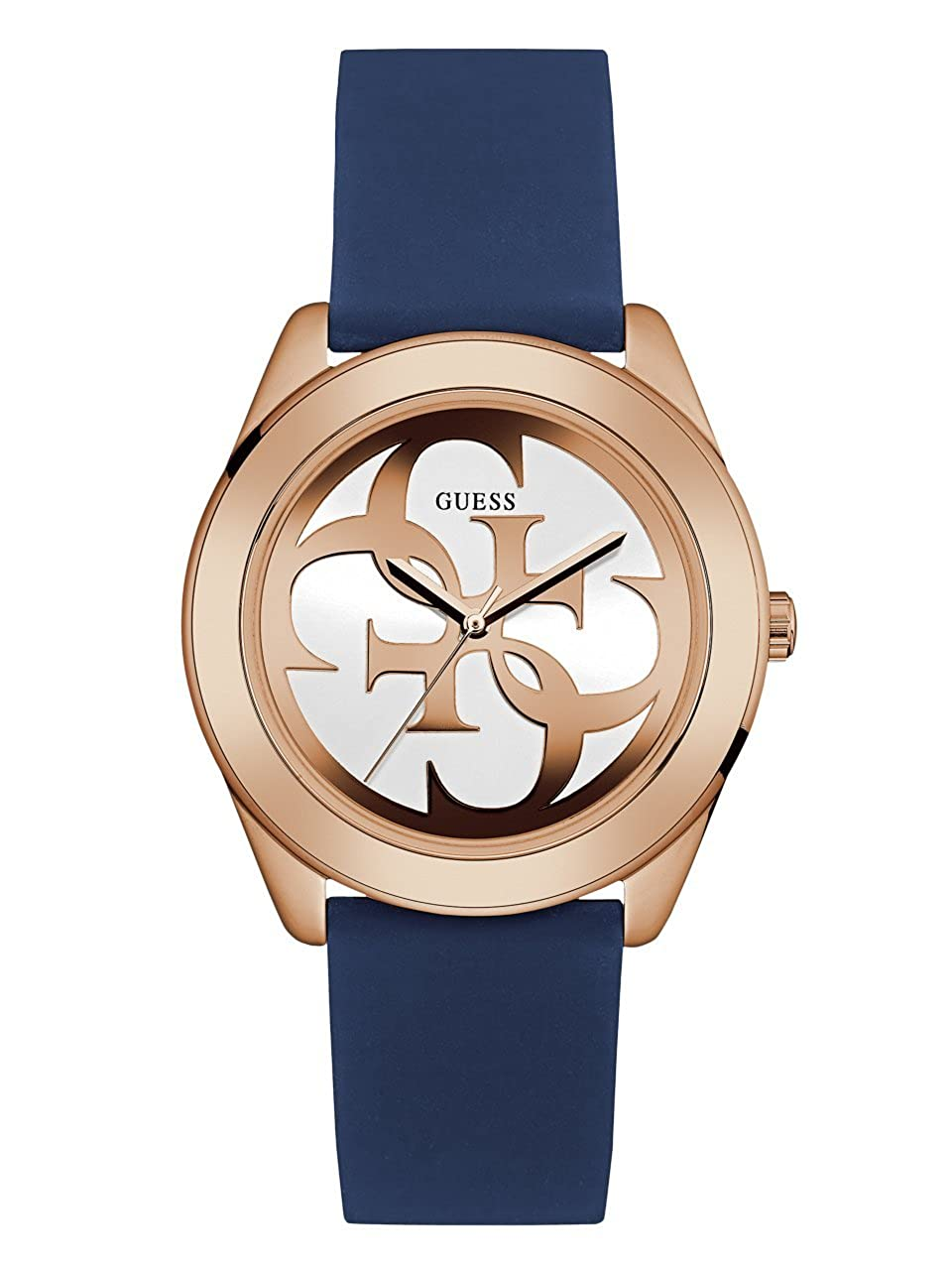 GUESS Comfortable Rose Gold-Tone Blue Stain Resistant Silicone Logo Watch. Color Blue Model U0911L6