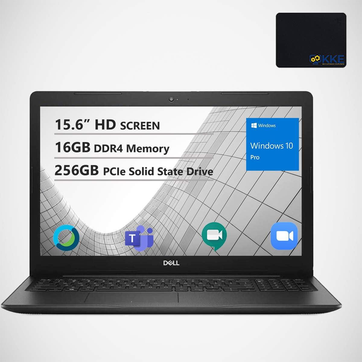 "Dell Inspiron 15.6"" HD Business Laptop, Intel 4205U, 16GB RAM, 256GB PCIe SSD, Webcam, WiFi, KKE Mousepad, Bluetooth, Win10 Pro, Black"