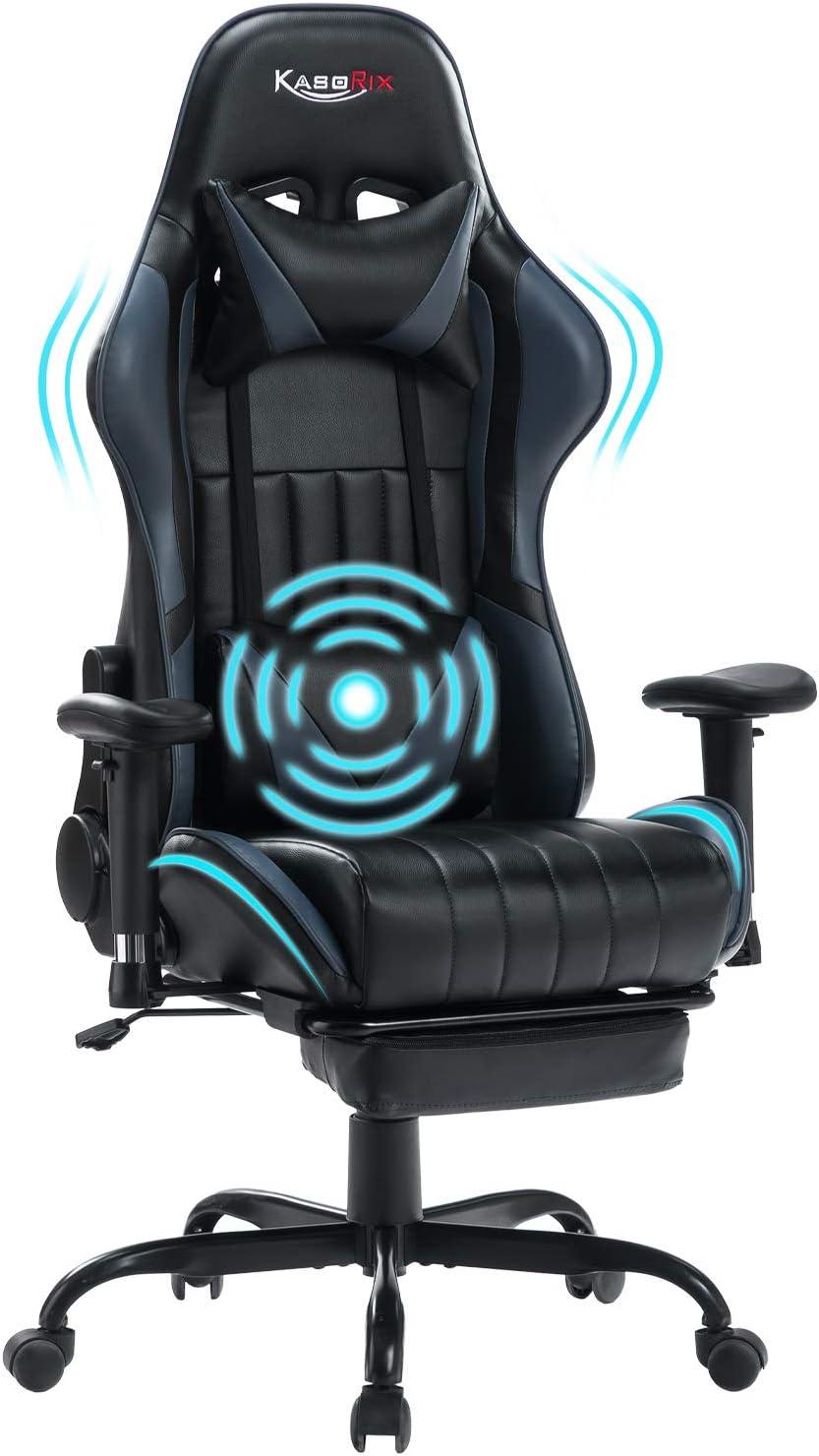 Kasorix Chaise Gaming Ergonomique,Hauteur r/églable Chaise Gamer avec Repose-Pieds et Massage Oreiller Lombaire pour Les Convient pour Les Jeux et Le Bureau Bleu-8509