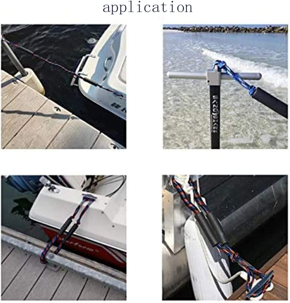 2 Pack Marine Bungee Cord Rope Boat Dock Line Outdoor Shock Absorb Stretchy Anchor Mooring Rope Dock Twisted Braided Rope Dock Ties Cleat Pylon Docking Stretch Snubber Slide Adjust Predator Buoy Line