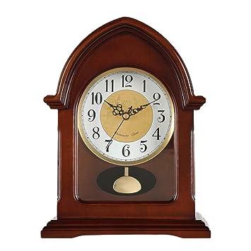 QFQ Relojes Retro de Madera Maciza, Estudio de Dormitorio Creativo Europeo Oficina Mute Reloj de
