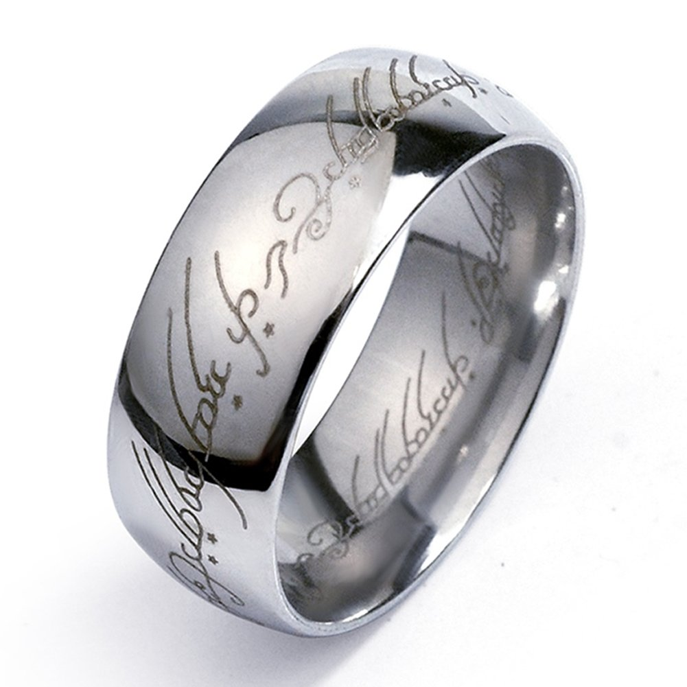 Olsine 6mm Elvish Script Lord Of The Rings Style High Polish Tungsten Carbide Unisex Laser-etched Wedding Ring Band- Size 7-12 (8)