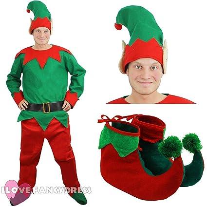ILOVEFANCYDRESS Disfraz DE Elfo para Adulto para Hombre con Gorra, Pantalones, Camisa, Cinturon, Y Zapatos Fiestas TEMATICAS DE Navidad (XXL)