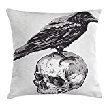 Queen Area Scary Scary Movies Theme Crow Bird Sitting on a Human Old Skull Sketchy Square Throw Pillow Covers Cushion Case Sofa Bedroom Car 18x18 Inch, Charcoal Grey White