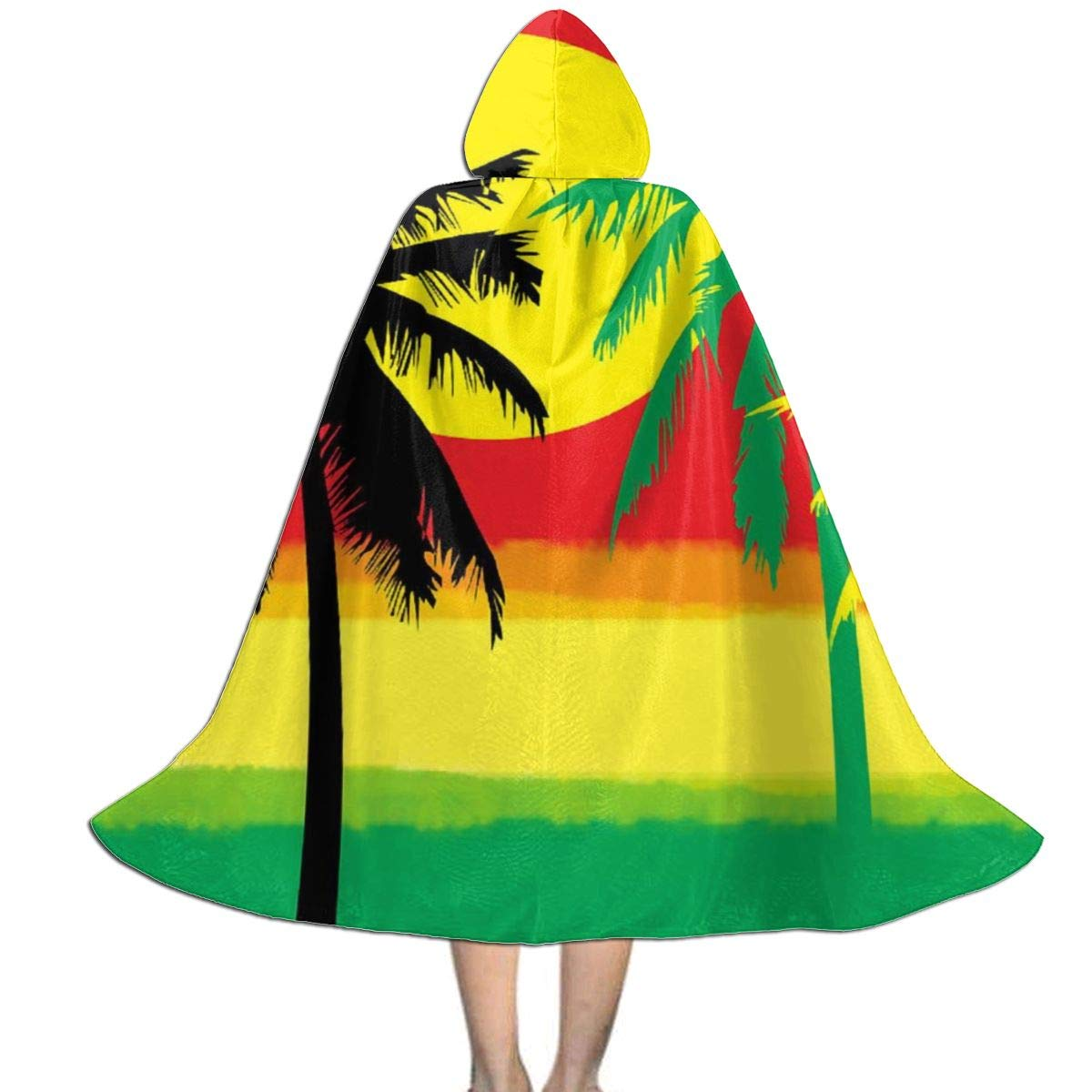 Grill Tree Island Sunset Full Length Hooded Cloak Halloween Cosplay Cloak for Halloween Christmas Stage Costumes Masquerade S by MAYUES