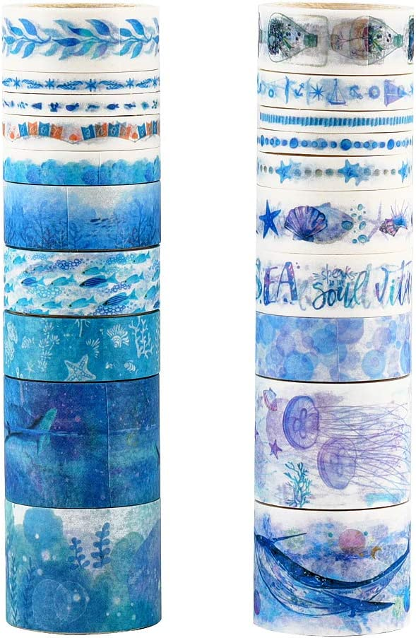 Molshine Set of 20 Washi Masking Tape, Sticky Paper Tape for DIY,Bullet Diary Decorative,Gift Wrapping, Scrapbook, Arts Crafts Office Party Supplies-Azure Ocean Series