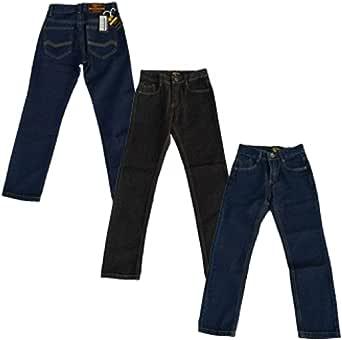 Pantalones vaqueros de diseñador para niños con cintura ajustable, color negro y azul, para lavado de 2 3 4 5 6 7 8 9 10 11 12 13 14 15 16 años Justfound4You