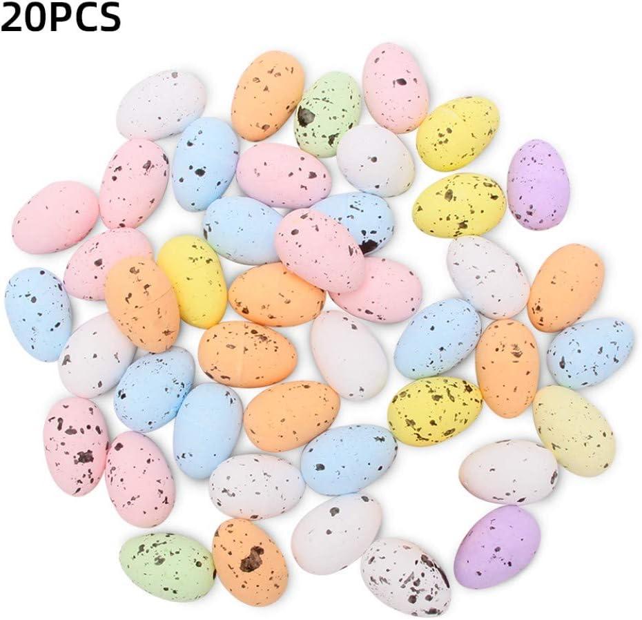KOqwez33 20Pcs Multicolor Foam Easter Eggs Artificial Bird Pigeon Eggs for Easter Basket Stuffer Fillers Party Ornaments Decor Blue 3cm x 4cm Egg for Easter Decoration