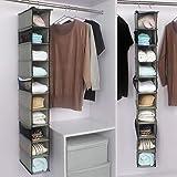 新款10层无纺布衣橱悬挂式收纳挂袋 多层可折叠防尘衣物储物挂袋 (灰色, 1个)