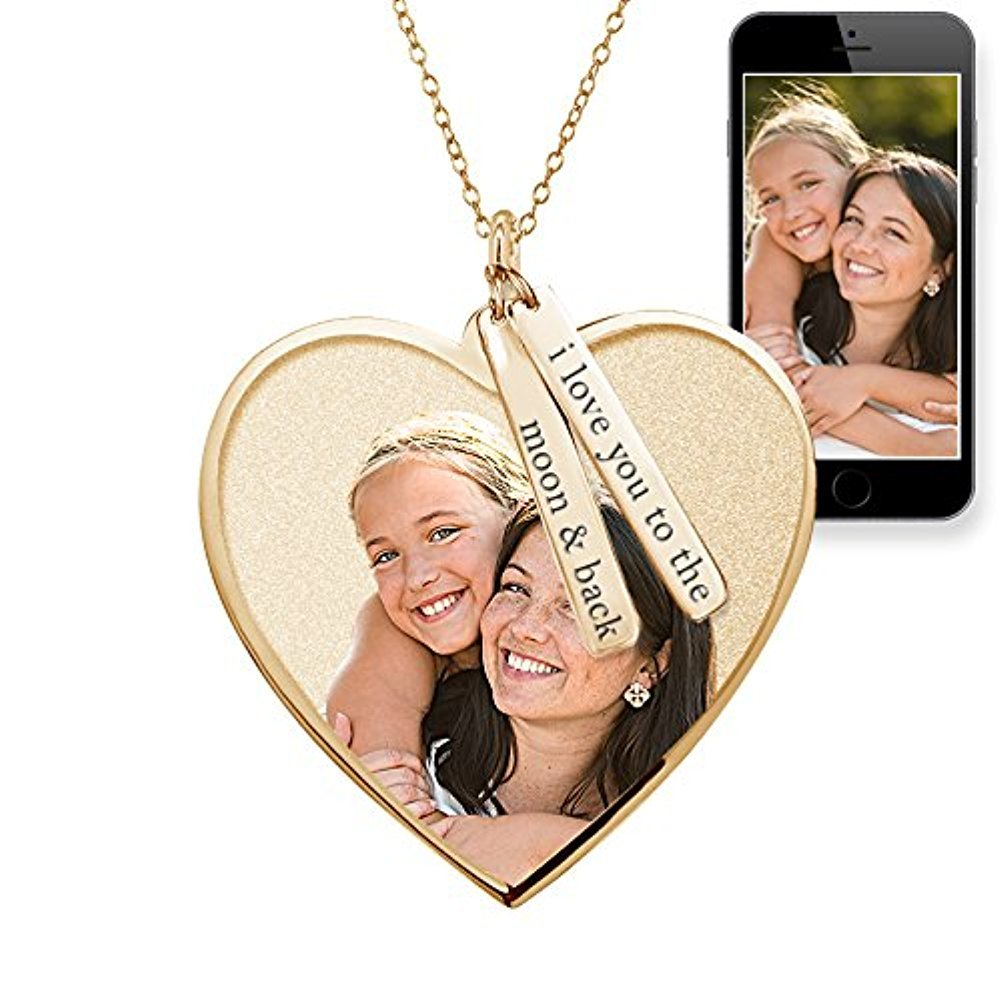 PicturesOnGold.com Photo Pendant Heart Necklace w/Personalized Name Tags 1 inch x 1 inch - Solid 14K Rose Gold with Engraving
