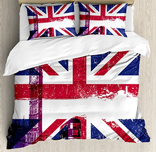 Union Jack Duvet Cover Set Queen Size by Ambesonne, Grungy Aged UK Flag Big Ben Double Decker Country Culture Historical Landmark, Decorative 3 Piece Bedding Set with 2 Pillow Shams, Multicolor