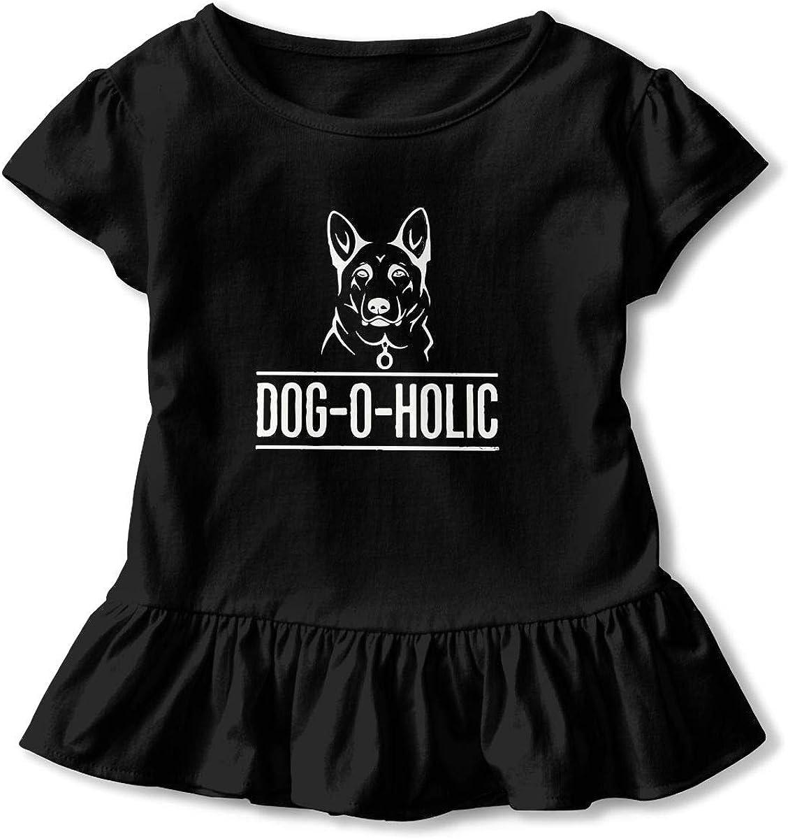 Cheng Jian Bo Gifts for German Shepherd Dog Lovers Toddler Girls T Shirt Kids Cotton Short Sleeve Ruffle Tee