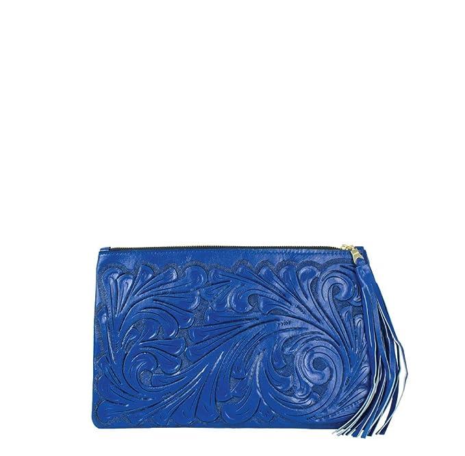 c058221ba Clutch azul de piel cincelada a mano (Azul): Amazon.com.mx: Ropa ...