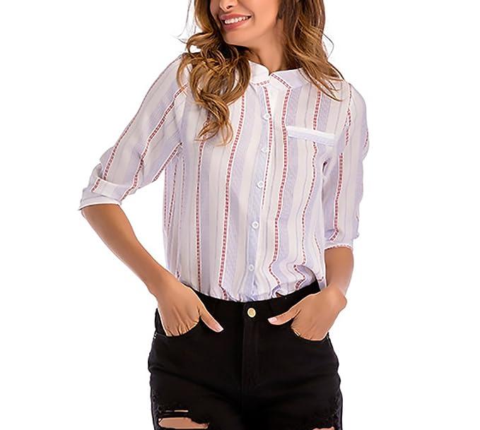 Camisas Mujer Elegante Primavera Verano Stand Cuello Mangas 3/4 Ropa Dama Moda Fashionista Rayas Patrón Blusas Camisa Tops Anchas Casual Woman: Amazon.es: ...
