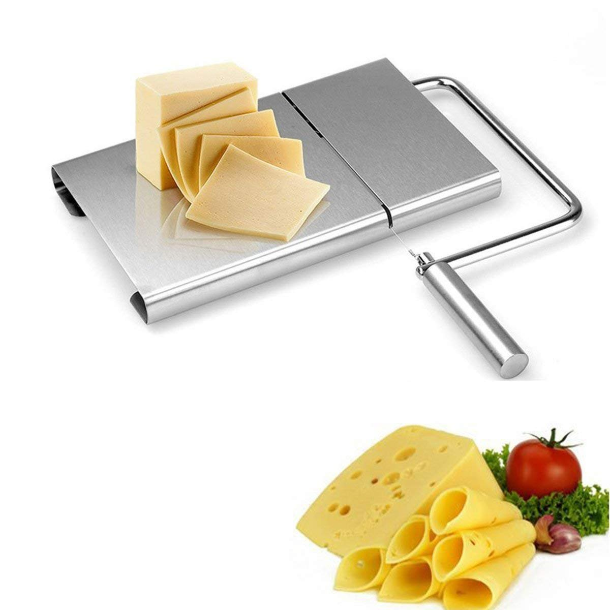 Cheese Slicer Cheese Cutter with Durable Wire Cutting Board for Kitchen Cooking Serving Baking Tools, Making Dessert, 5 Wires Included