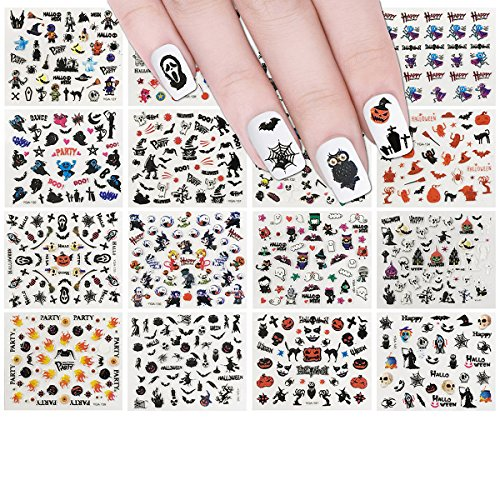 ALLYDREW Halloween Nail Stickers Nail Art Set Ghost Stickers Bat Nail Art (24 sheets)