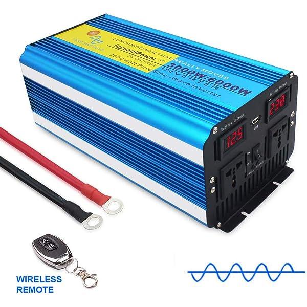 VOLTAGE DISPLAY CAR CARAVAN CAMPING BOAT 12V to 220V Converter 4000W Peak POWER INVERTER DC 12V TO 230V 240V AC DUAL 5V USB PORTS WITH SOFT START LVYUAN 2000W