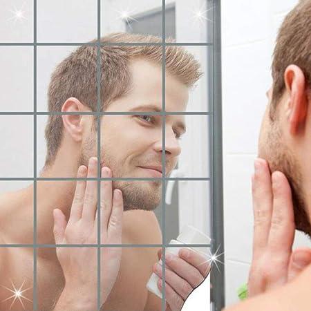 9//18pcs Spiegelfliesen Wandspiegel Spiegelfolie Selbstklebend Aufkleber Folie F