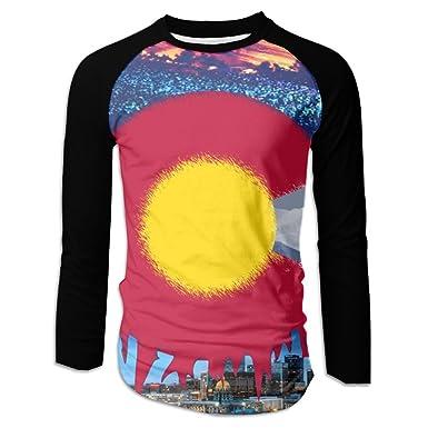 5810d1171fd Amazon.com: Pin Men's Pretty Colorado Flag Baseball Tshirts Sports ...