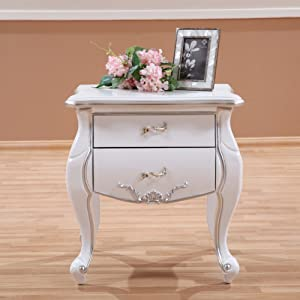 EWYGFRFVQAS White Solid Wooden Bed Cabinet European-Style Bedside Table American Style New Classical Night Table Bedside Cupboard-B 60x45x55cm(24x18x22)