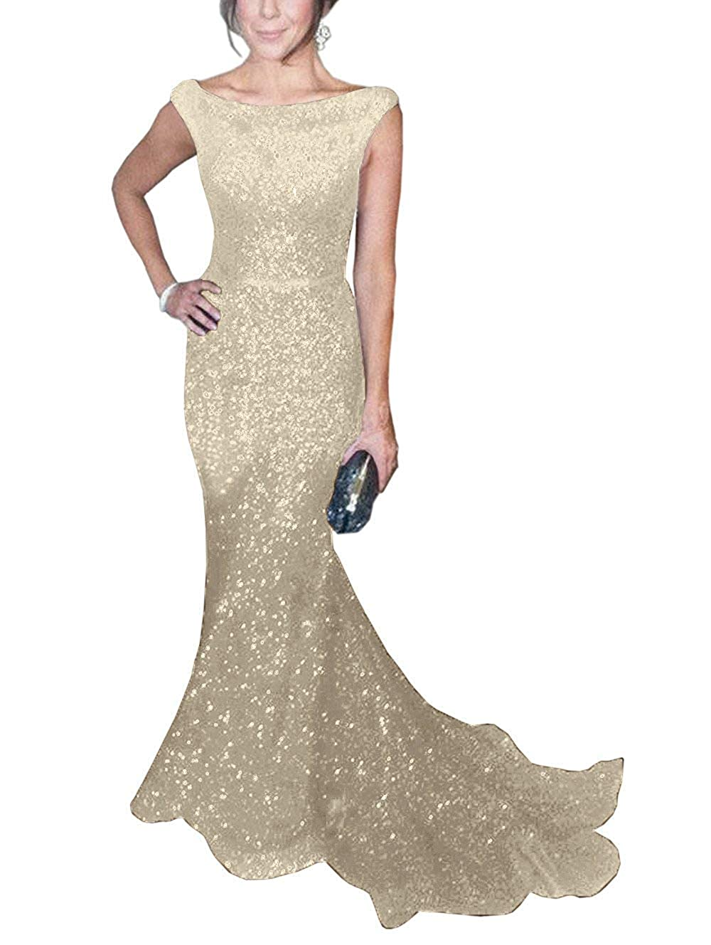 Champagne ToonySume Women's Mermaid Sequined Prom Gown Formal Evening Dress for Wedding
