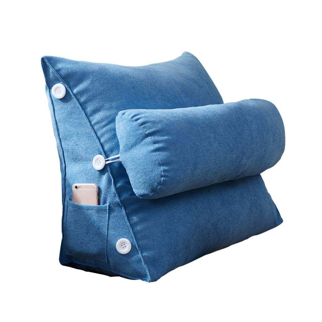 Lil Band Head Pillow Triangle Cushion, Sofa Office Bay Window Lumbar Pillow/Lumbar Support Waist/Pillow (can Be Adjusted in Three Steps) (Color : Blue)