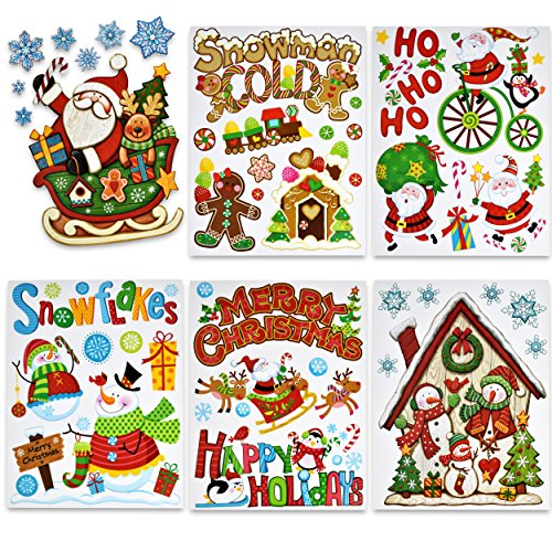 6 Christmas Window Cling Happy Holiday Reusable Sticker Decal Decorations Includes Santa Sleigh Snowman Winter Snowflake Gingerbread man Reindeer & Merry Christmas Classroom Party Supplies Accessories