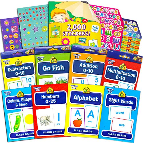 Flash Cards School Zone Super Set for Toddlers/Kids -- 8 Packs (ABC, Numbers, Colors and Shapes, Sight Words, Addition, Subtraction, Multiplication, Go Fish and Bonus 2000 Reward Stickers) ()