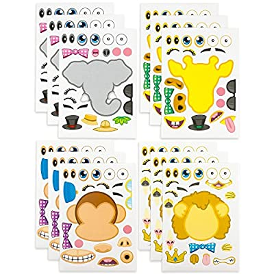 Kicko Make-a-Zoo Animal Sticker Sheets -12 Pack - for Kids, Arts, Parties, Birthdays, Party Favors, Crafts, School, Daycare, Etc.: Toys & Games