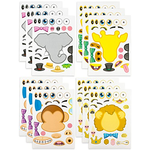 (Kicko Make-a-Zoo Animal Sticker Sheets -12 Pack - for Kids, Arts, Parties, Birthdays, Party Favors, Gifts, Crafts, School, Daycare, Etc.)