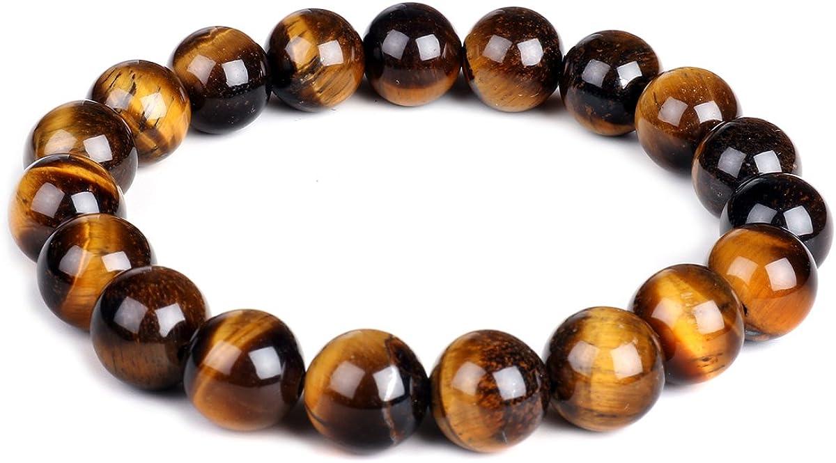 Pulsera elástica de ojo de tigre, 10 mm, piedras preciosas curativas para yoga, para hombres y mujeres