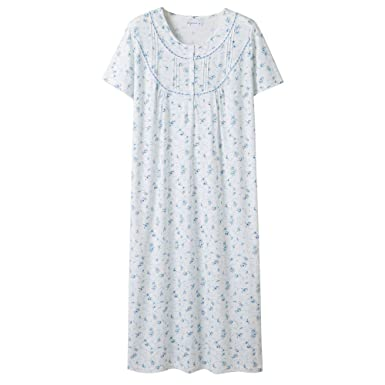f60ad60bbd Keyocean Women's Nightgowns 100% Cotton Lace Trim Short Sleeve Solid Long  Sleepwear for Women (