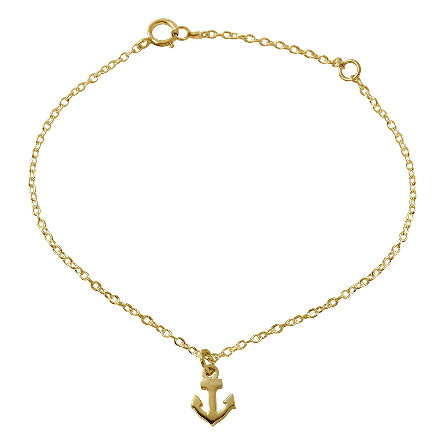 Anchor Charm Anklet in Sterling Silver
