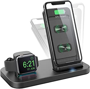 BEACOO 2in1 Wireless Charger Stand for Apple Smart Watch 6/5/4/3/2/1, Wireless Fast Charger Stand Compatible with iPhone SE 2020/11 Pro Max/XR/XS Max/X/8 Plus (No iWatch Charging Cable)