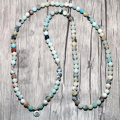 Zhepin 8MM Amazonite 108 Mala Beads Charm Bracelet for Men Women Yoga Bracelet Necklace by Zhepin (Image #8)