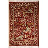 Rugstc 3'1 x 5'2 Pak Persian Area Rug with Silk & Wool Pile - Pictorial Hunting Shikargah Design | 100% Original Hand-Knotted in Red,Beige | 3x5 Rectangular Double Knot Rug