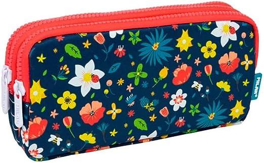 Portatodo Triple Milan Flowery: Amazon.es: Oficina y papelería