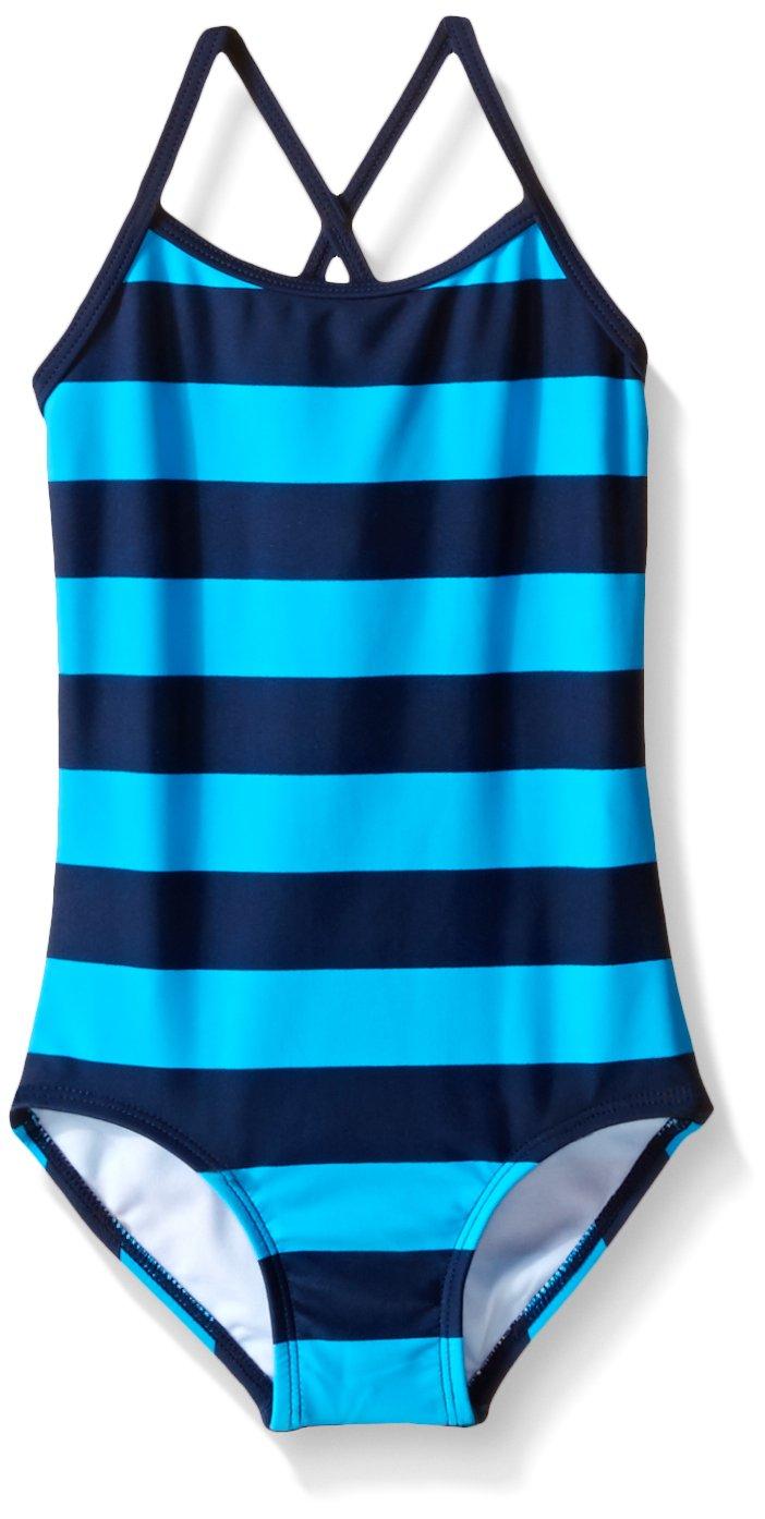 Kanu Surf Big Girls Layla One Piece Swimsuit, Navy/Aqua, 12