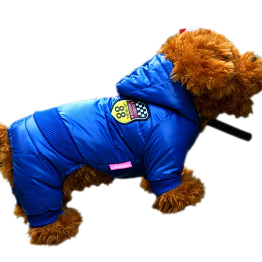 bluee NO.14 bluee NO.14 AOBRITON Dog Down Winter Warm Pet Dog Clothes Waterproof Dog Coat Thickening Light-Weight Four Legs Hoodie Jacket Clothing