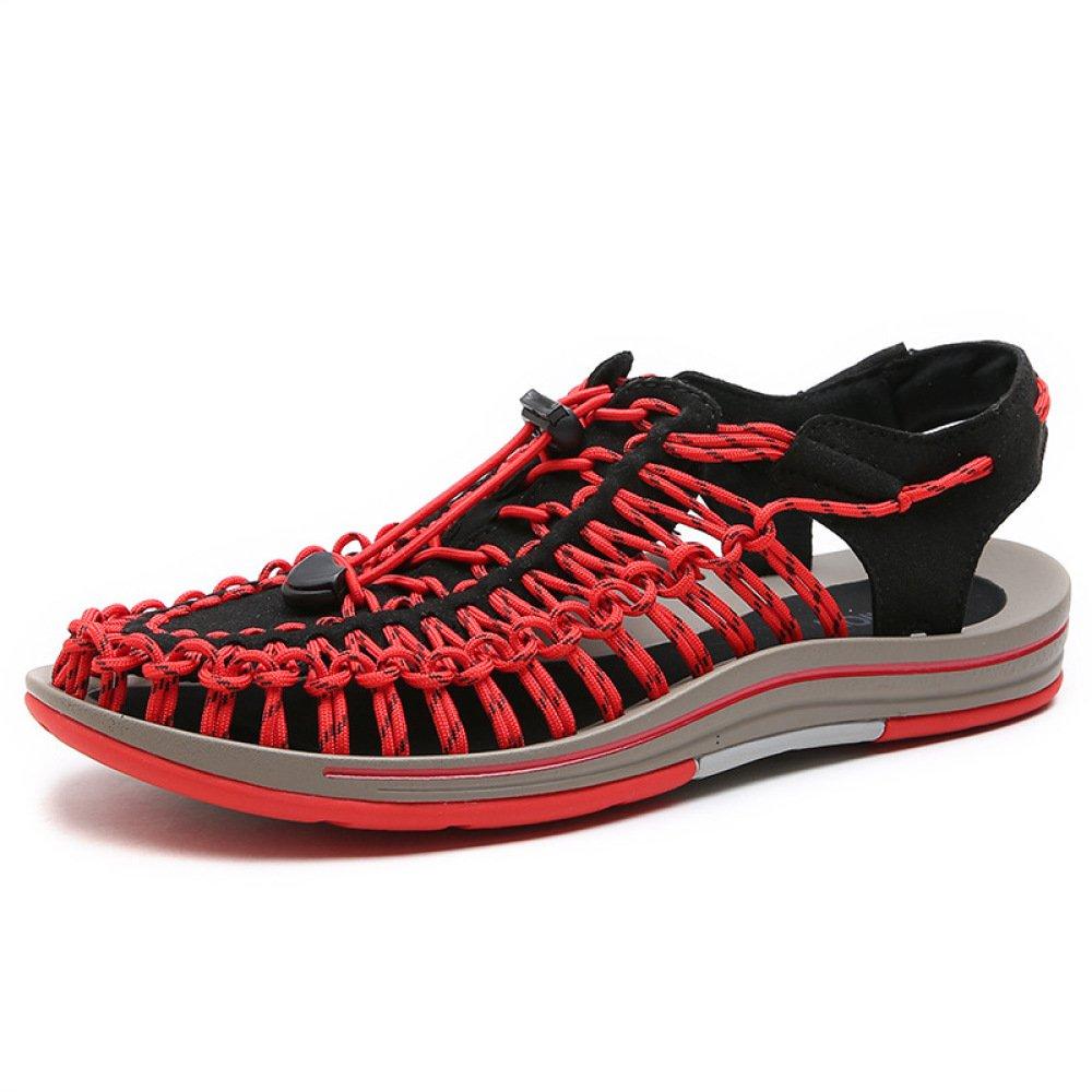 YXLONG 2018 Verano Nuevo Sandalias De Los Hombres Tejidas A Mano Zapatos De Playa Marea De La Personalidad Zapatos Transpirables Luo Simples Ocasionales,Red-43 43|red