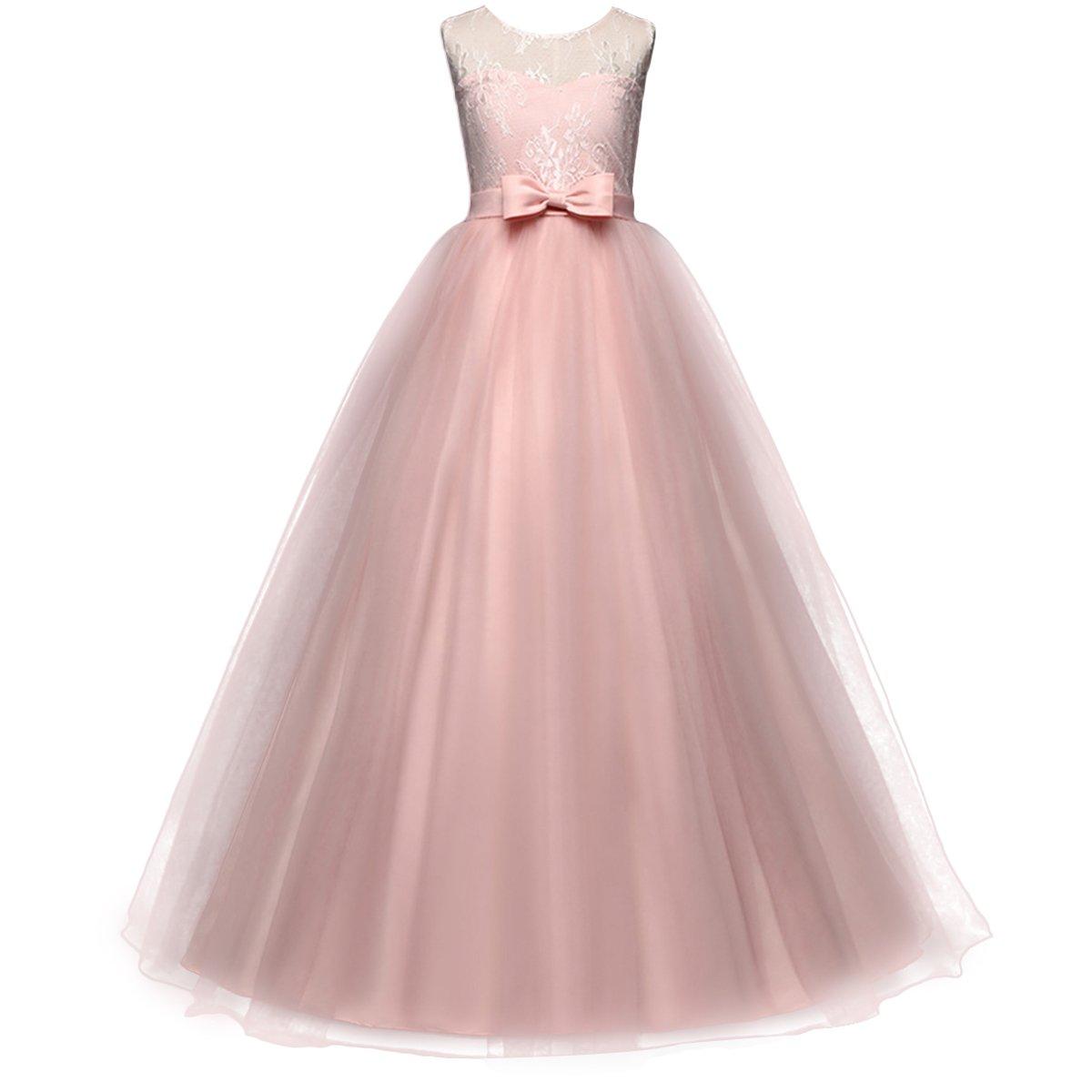 92c65ddfd291d Little Big Girl Flower Deep-V Back Lace Pageant Long Dress Wedding Party  Formal Evening Dance Gowns