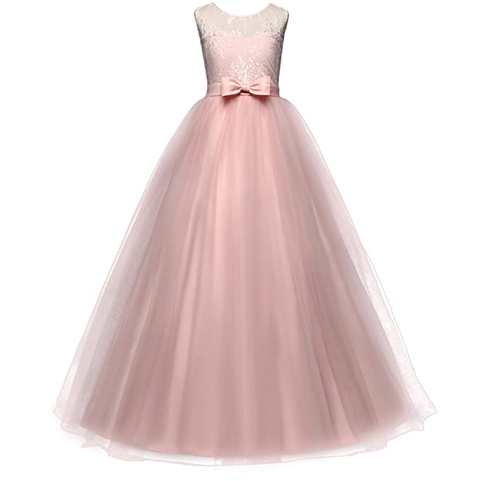0df0e7d294 Little Big Girl Flower Deep-V Back Lace Pageant Long Dress Wedding Party  Formal Evening Dance Gowns