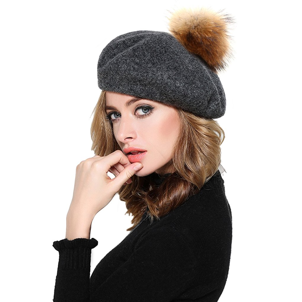 Womens Ladies Classic French Style Beret Cap Thick Wool Knit Winter Warm Beanie Hats with Fur Ball Pom, Xmas Gift (Grey)