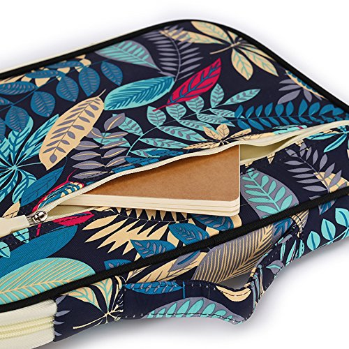 Dark Zippered For Pouch Organizer New Multi Case Document waterproof Ipads Travel Pattern functional Style Leaves Blue Bags A4 wawPCq674
