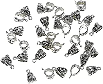 25 Butterfly Bails Silver Plated Hanging Pendant Bracelet Bails Jewellery Making