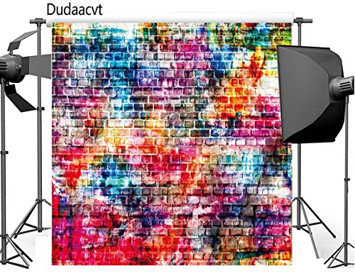 Dudaacvt 8x8ft Colorful Brick Wall Photography Backdrops Painting Graffiti Vinyl Background Q0130808 (Graffiti Brick Wall)