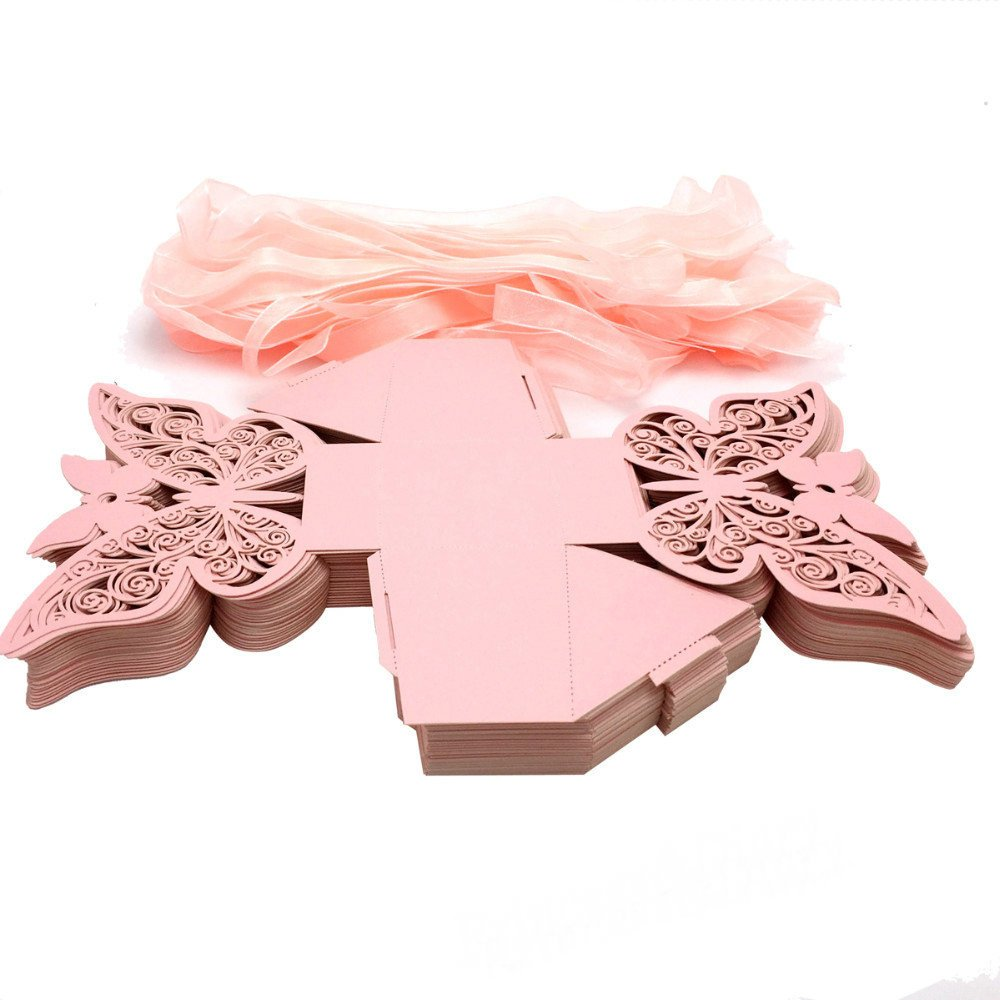 Amazon.com: Zorpia New 50pcs Laser cut Big Butterfly Wedding favor ...