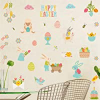 Happy Easter Wall Decal Floral Easter Bunnies Easter Eggs Chick Sheep Wall Stickers, Lovely Easter Sticker for Nursery…