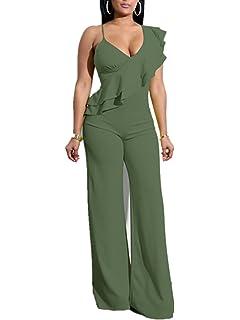 2d6b8c4005c AVINE Women s Sexy V Neck High Waist Clubwear Wide Leg Long Pants Jumpsuit  Rompers